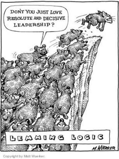 Richard Seymour's Lemming Aid Federation | WORKERS UNITED Obama Lemmings Jumping Off A Cliff