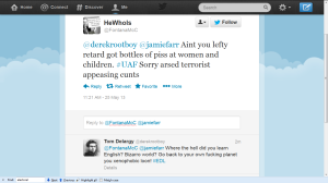 FONTANA MCC EDL TWEETER ATTACKING ME