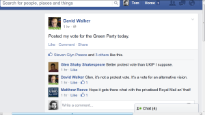 Greens protest vote facebook of david walker
