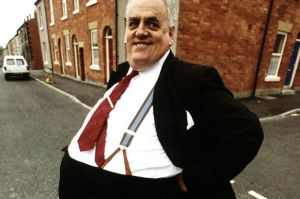 Cyril Smith Liberal MP for Rochdale Lancs posing to show off his enormous girth