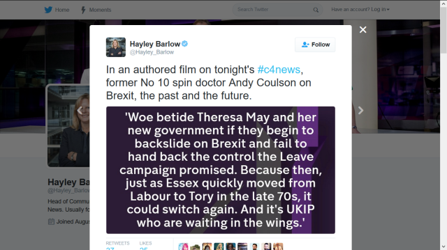ANDY COULSON C4NEWS HAYLEY BARLOW