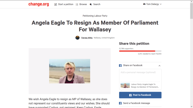 ANGELA EAGLE TO RESIGN AS MP