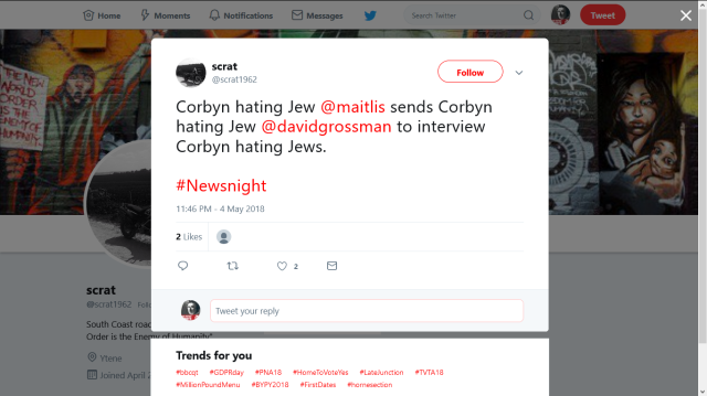 SCRAT1962 ATTACKING JEWS IN JEREMY CORBYN NAME